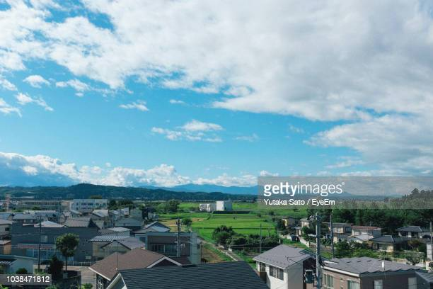 high angle view of townscape against sky - 郊外の風景 ストックフォトと画像