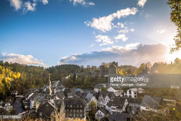 high angle view of townscape against sky - north rhine westphalia stock pictures, royalty-free photos & images