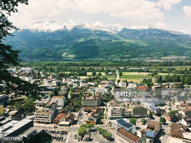 high angle view of townscape against sky - liechtenstein stock pictures, royalty-free photos & images