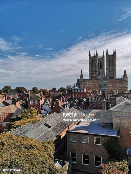 high angle view of townscape against sky - lincolnshire stock pictures, royalty-free photos & images