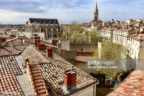high angle view of townscape against sky - herault stock pictures, royalty-free photos & images