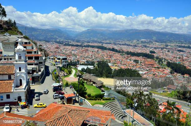 high angle view of townscape against sky - ecuador stock pictures, royalty-free photos & images