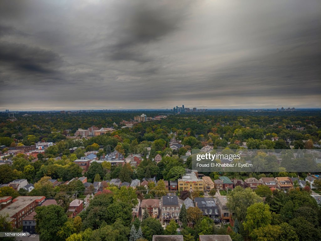 High Angle View Of Townscape Against Sky : Stock Photo