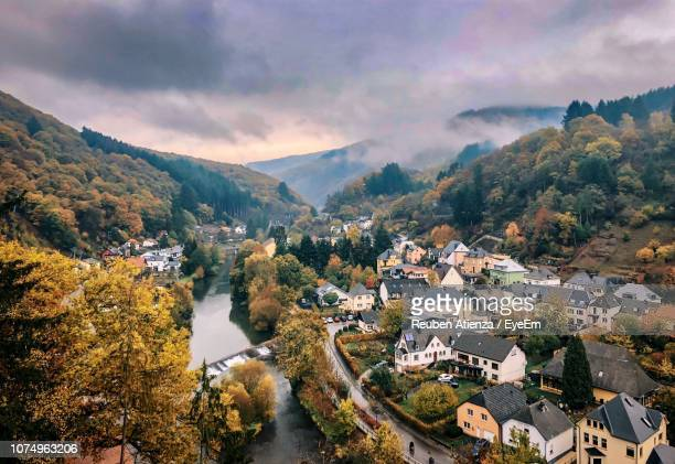 high angle view of townscape against sky - luxembourg benelux stock pictures, royalty-free photos & images