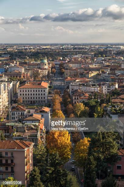 high angle view of townscape against sky - bergamo stock pictures, royalty-free photos & images