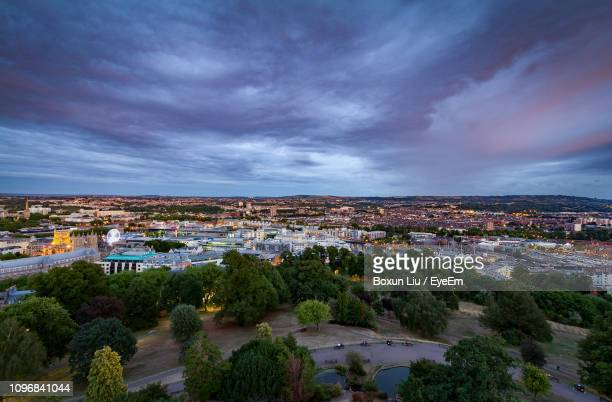 high angle view of townscape against sky - liu he stock pictures, royalty-free photos & images