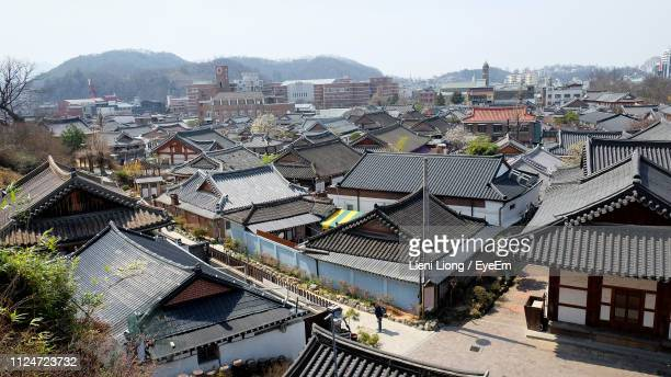 high angle view of townscape against sky - jeonju stock pictures, royalty-free photos & images