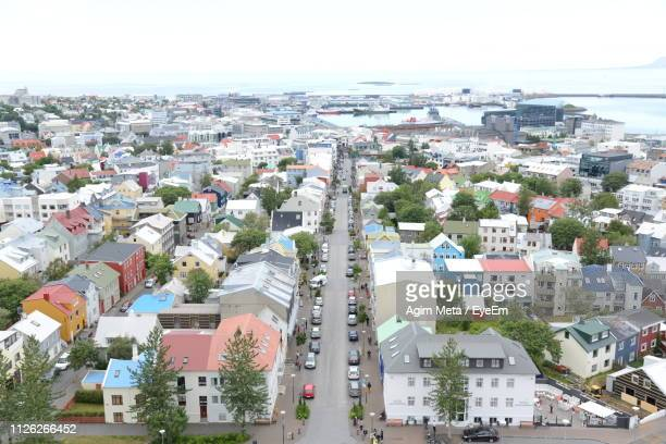 high angle view of townscape against sky - agim meta stock-fotos und bilder
