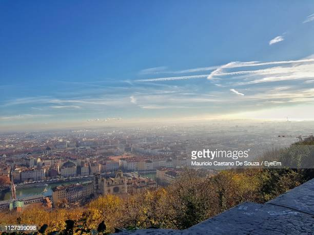high angle view of townscape against sky - mauricio caetano de souza stock photos and pictures