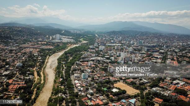 high angle view of townscape against sky - cucuta stock pictures, royalty-free photos & images