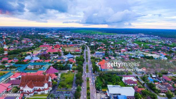 high angle view of townscape against sky - central kalimantan stock pictures, royalty-free photos & images