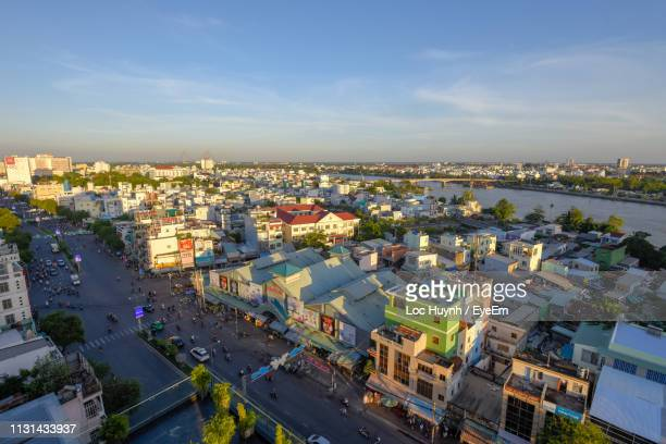 high angle view of townscape against sky - can tho province stock pictures, royalty-free photos & images