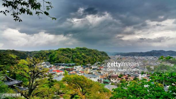 high angle view of townscape against sky - storm dennis stock pictures, royalty-free photos & images