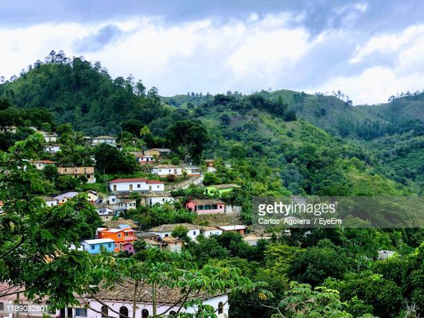 high angle view of townscape against sky - honduras stock pictures, royalty-free photos & images
