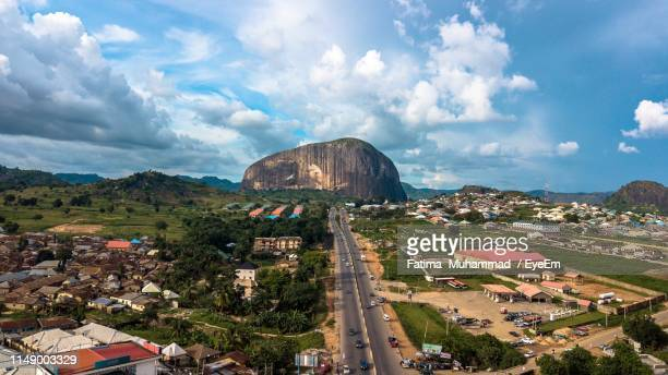 high angle view of townscape against sky - nigeria stock pictures, royalty-free photos & images