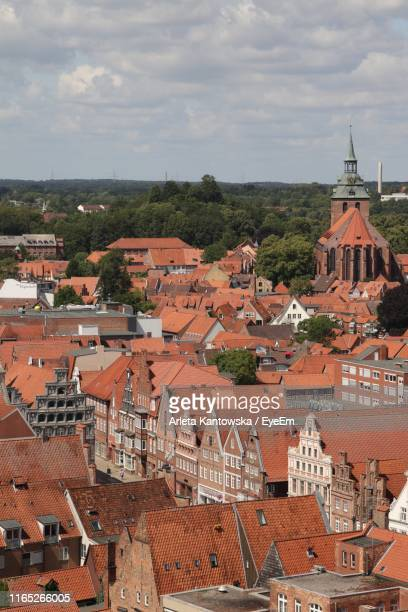 high angle view of townscape against sky - lüneburg stock pictures, royalty-free photos & images