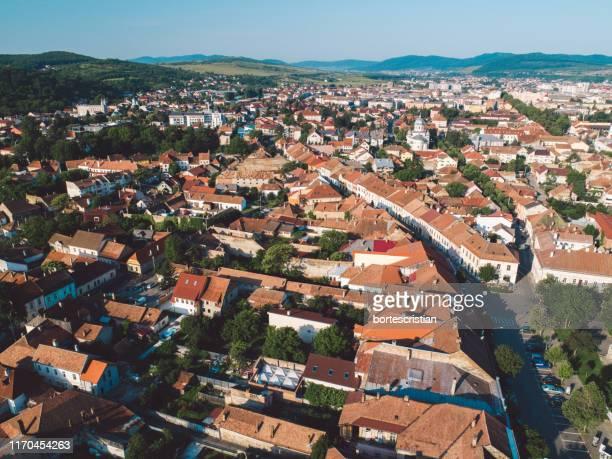 high angle view of townscape against sky - bortes - fotografias e filmes do acervo