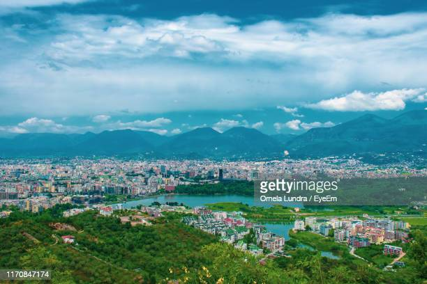 high angle view of townscape against sky - albania stock pictures, royalty-free photos & images