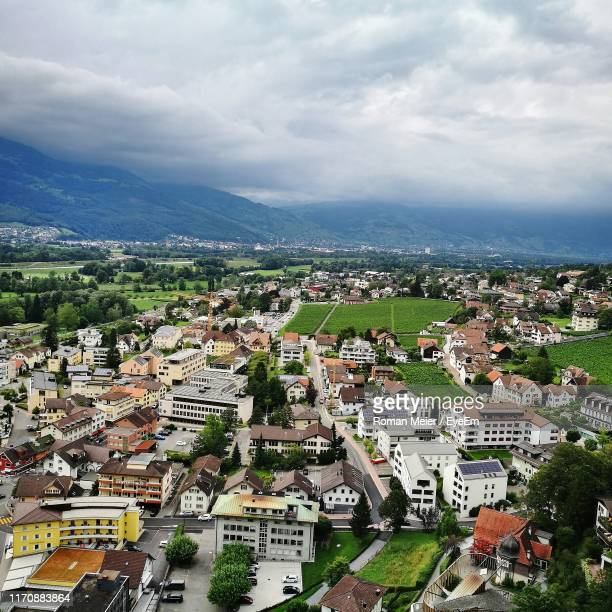 high angle view of townscape against sky - vaduz stock pictures, royalty-free photos & images