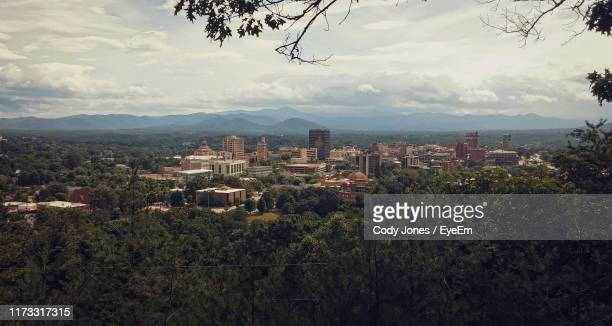 high angle view of townscape against sky - asheville stock pictures, royalty-free photos & images