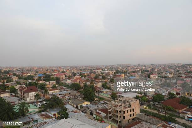 high angle view of townscape against sky - kinshasa stock pictures, royalty-free photos & images