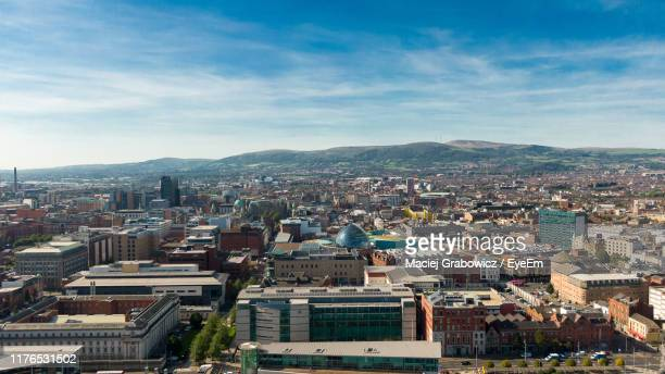 high angle view of townscape against sky - belfast stock pictures, royalty-free photos & images