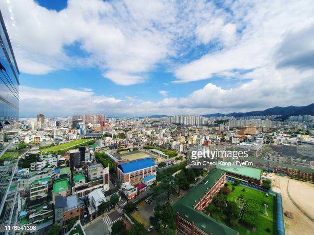 high angle view of townscape against sky - gwangju stock pictures, royalty-free photos & images