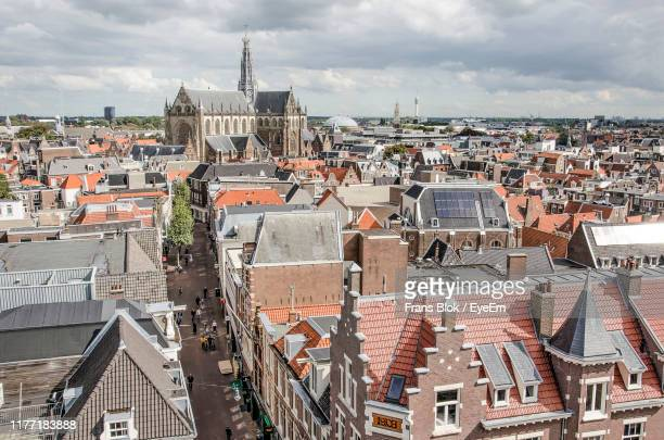 high angle view of townscape against sky - haarlem fotografías e imágenes de stock