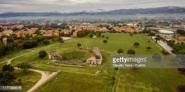 high angle view of townscape against sky - gubbio stock pictures, royalty-free photos & images
