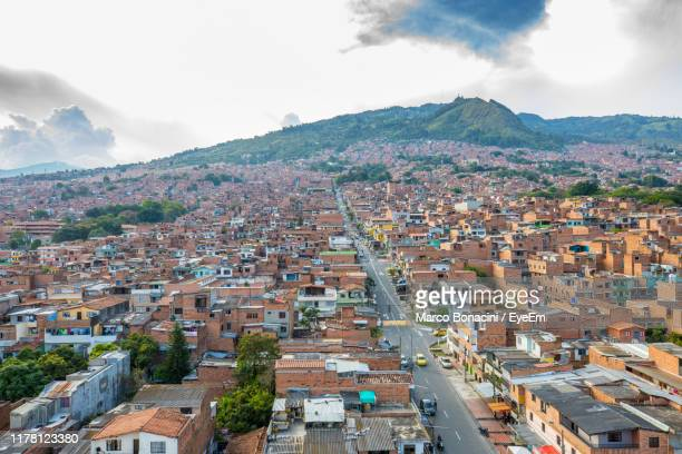high angle view of townscape against sky - medellin colombia stock pictures, royalty-free photos & images