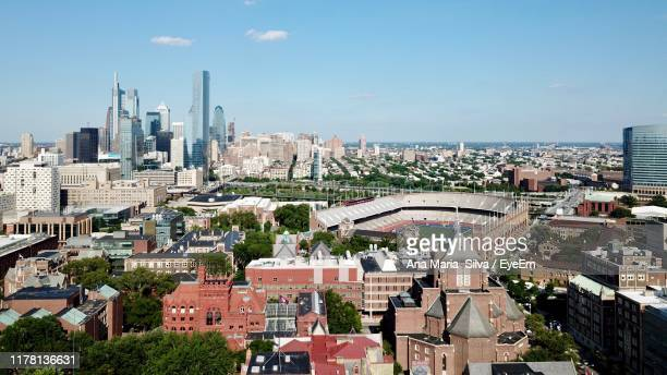 high angle view of townscape against sky - university of pennsylvania stock pictures, royalty-free photos & images