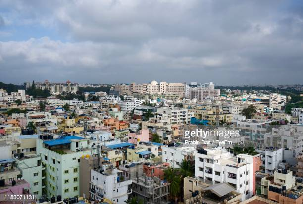 high angle view of townscape against sky - bangalore stock pictures, royalty-free photos & images