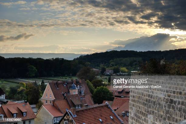 high angle view of townscape against sky - saxony anhalt stock pictures, royalty-free photos & images