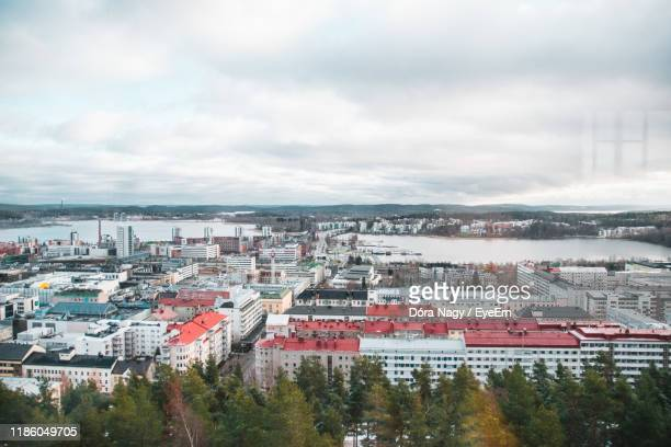 high angle view of townscape against sky - jyväskylä stock pictures, royalty-free photos & images