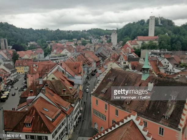 high angle view of townscape against sky - ravensburg stock-fotos und bilder