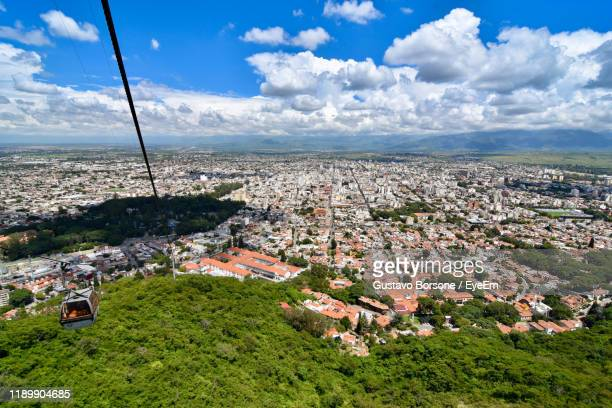 high angle view of townscape against sky - salta argentina stock photos and pictures