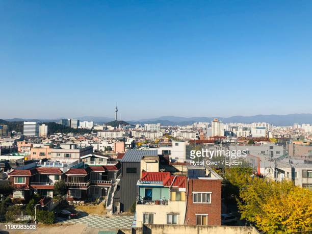 high angle view of townscape against sky - daegu stock pictures, royalty-free photos & images