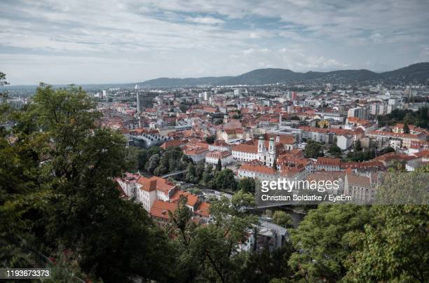 high angle view of townscape against sky - christian soldatke stock pictures, royalty-free photos & images