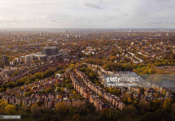 high angle view of townscape against sky - highgate stock pictures, royalty-free photos & images