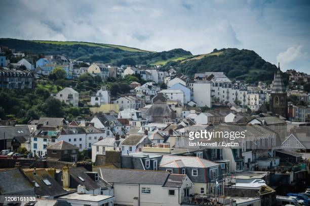 high angle view of townscape against sky - ilfracombe stock pictures, royalty-free photos & images