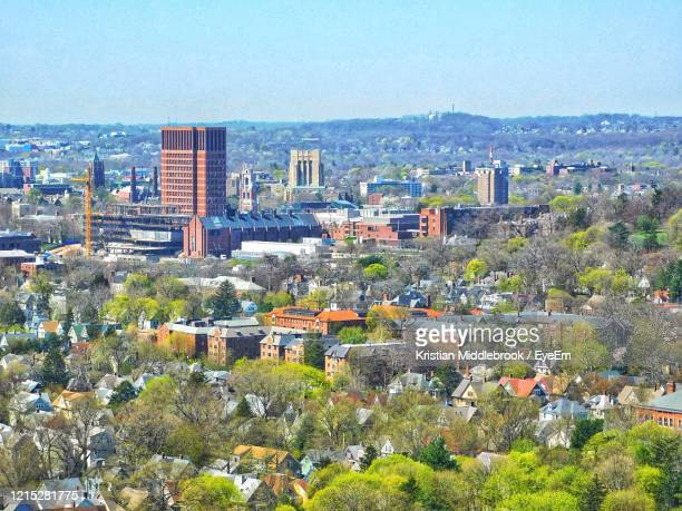 high angle view of townscape against sky - yale university stock pictures, royalty-free photos & images