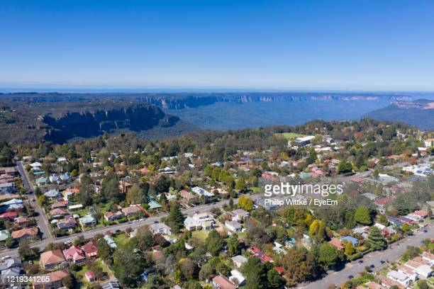 high angle view of townscape against sky - katoomba stock pictures, royalty-free photos & images
