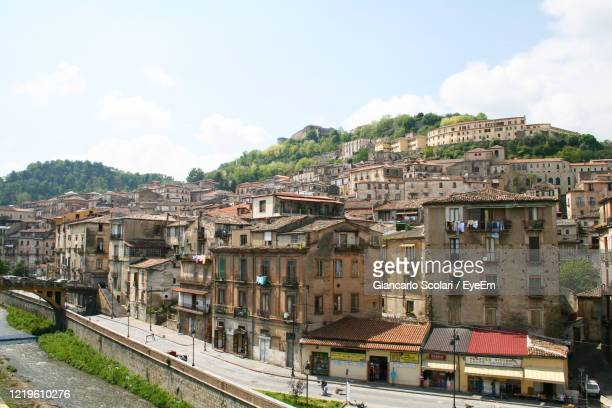 high angle view of townscape against sky - calabria stock pictures, royalty-free photos & images