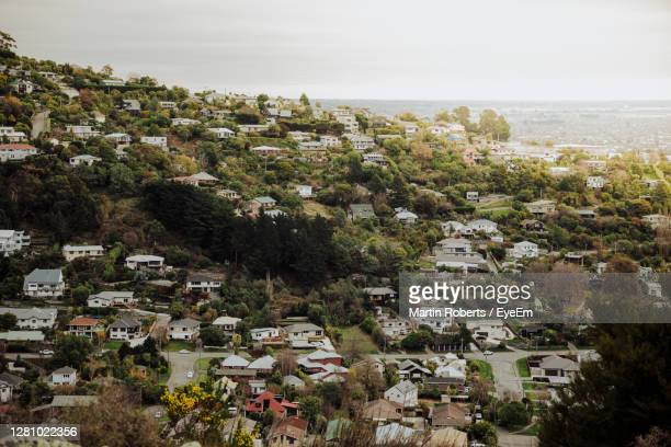 high angle view of townscape against sky - christchurch stock pictures, royalty-free photos & images