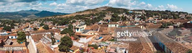 high angle view of townscape against sky - bortes foto e immagini stock