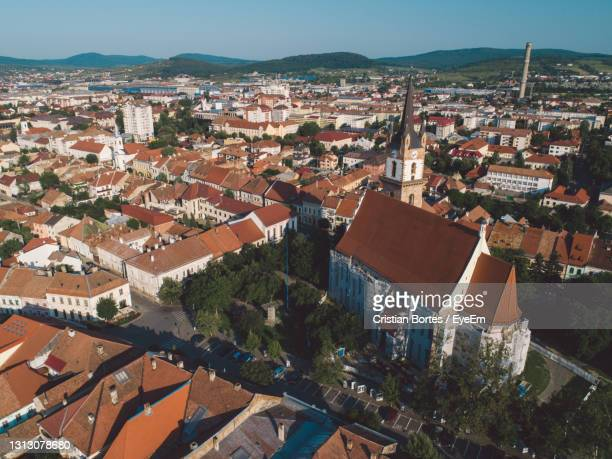 high angle view of townscape against sky - bortes stock pictures, royalty-free photos & images