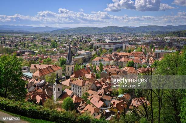 high angle view of townscape against sky - ljubljana stock pictures, royalty-free photos & images