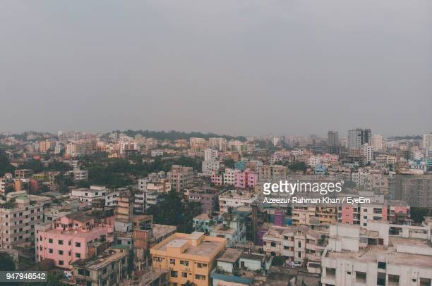 high angle view of townscape against sky - chittagong stock pictures, royalty-free photos & images