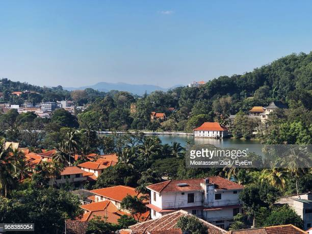 high angle view of townscape against sky - kandy kandy district sri lanka stock pictures, royalty-free photos & images