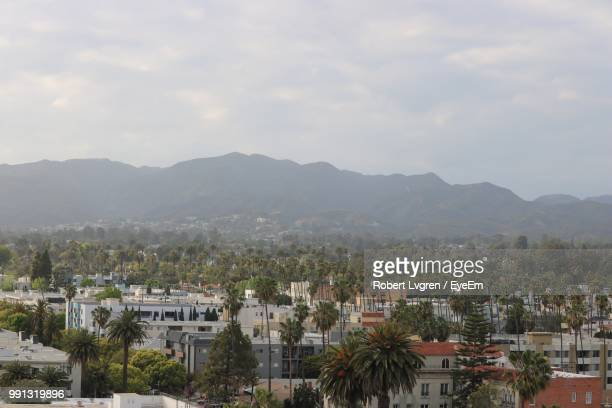 high angle view of townscape against sky - san fernando california stock photos and pictures